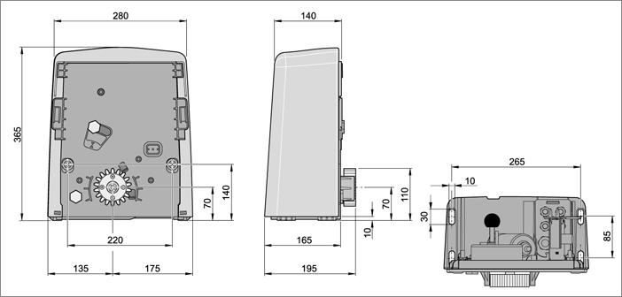 Габаритные размеры привода SOMMER SG1