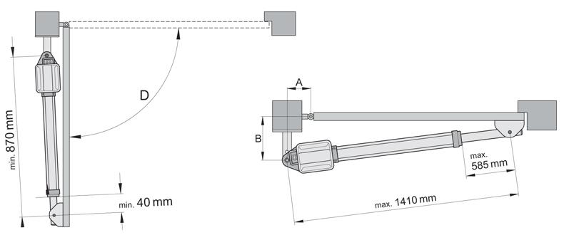 Установочные размеры привода SOMMER Twist 200 EL
