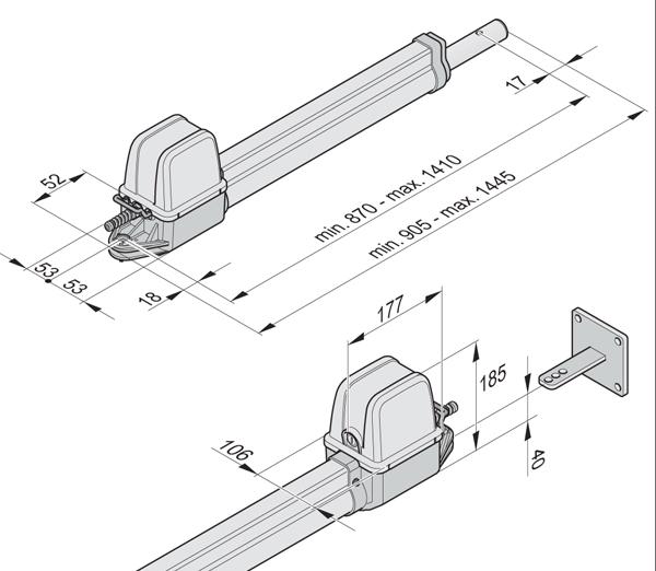 Габаритные размеры привода SOMMER Twist 200 EL